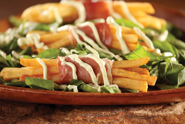 Prosciutto Wrapped Fries with Avocado Drizzle